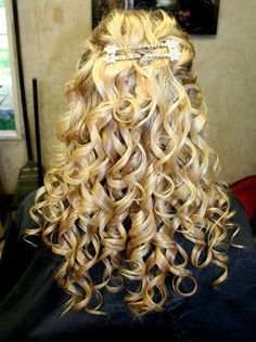 Half up half down curls with bling!