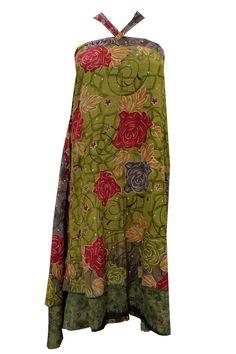 WOMEN'S BOHO SILK SARI SKIRT WRAP AROUND GREEN FLORAL PRINTED HIPPIE GYPSY SKIRT #mogulinterior #WrapSarong