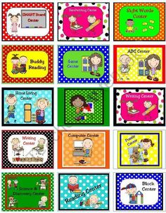 ~SALE~ Learning Center Signs & Labels from KellyYoung on TeachersNotebook.com (52 pages)  - The adorable graphics on these learning center signs and labels are very kid friendly and help little ones find their assigned learning centers! There are large labels for 21 different centers with matching smaller labels. Please contact me if they do not