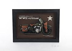 """Harley Davidson WWII Army Motorcycle 3D Metal Model Painting 28"""""""""""