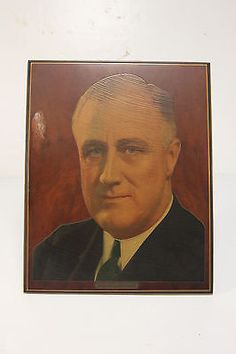 FDR Franklin Delano Roosevelt Presidential Picture W/ Stand Murray Wood Products