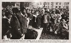"""Fred Hampton, Illinois Black Panther Party Chairman, speaks at demonstration outside Cook County Hospital. Over 400 protesters attended the Friday afternoon rally. Hampton called for """"health care to meet the needs of the people,"""" 1969"""