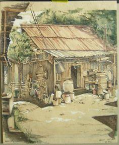 Goh Ee Choo- early Geylang in Singapore 1980, pencil on paper