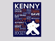 Hockey Goalie Typography Art | Black & Blue | Choose Any Colors…