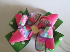 Easter Double Boutique Hair Bow Easter Bunny Bow by preciouscurls