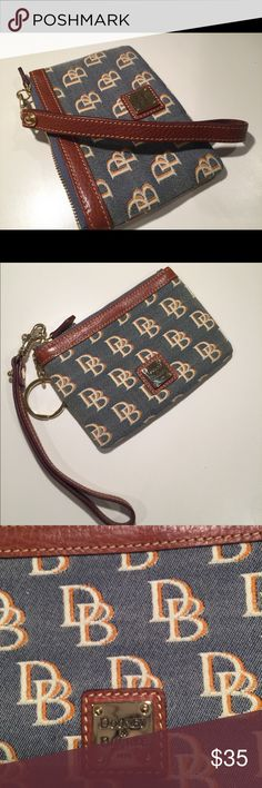AuthenticNew Without Tags Dooney & Bourke Wristlet This is a beautiful, brand new Dooney & Bourke zippered wristlet that has never been used before. I received as a gift and have not used it. The exterior is Canvas and there are leather parts around the wallet and the strap. Make me an offer! Dooney & Bourke Bags Clutches & Wristlets