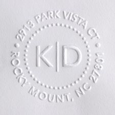 For all of those invites and thank you notes- embossed return address stamp