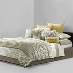 Cotton duvet-style comforter set with a geometric fretwork motif. Comes with three decorative pillows. Bed Comforter Sets, Best Bedding Sets, Bed Duvet Covers, Comforters, Queen Bedding, King Duvet, Console, Homemakers Furniture, All Modern