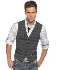 Bar III Vest, Five-Button Plaid Vest - Mens Blazers & Sport Coats - Macy's Hot man outfit Sharp Dressed Man, Well Dressed Men, Gilet Jeans, Mens Sport Coat, Sport Coats, Plaid Vest, Grey Vest, Men's Waistcoat, How To Look Handsome
