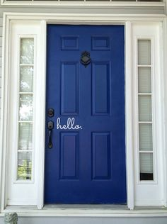 From aqua, navy, cerulean, to true-blue – what can you do with your front door? Having a blue front door will add a unique touch to y… Front Door Colors, Front Door Decor, Blue Front Doors, Front Porch, Front Door Makeover, Painted Front Doors, The Doors, Deco Design, Exterior Doors