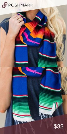 🎉FLASH SALE  🎉 Serape Boho Scarf Beautiful colorful Serape blanket scarf. Boho style in a wrap long fringed ends bohemian accent. Material: Acrylic/polyester/cotton blend. Machine washable 😃👍🏻 Price is firm unless bundled 😉 I offer discounts on 2 or more items 😃 🎉 2 a T Boutique  Accessories Scarves & Wraps