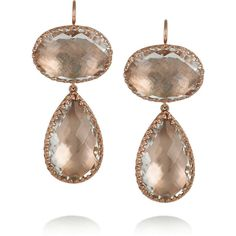 Larkspur & Hawk Lily 22-karat rose gold-dipped topaz drop earrings featuring polyvore, fashion, jewelry, earrings, accessories, brincos, jewelry - earrings, pink gold earrings, clear jewelry, clear crystal jewelry, red gold jewelry and lily jewelry