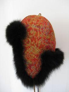 Pelshat / Pelshue. Fur hat Model Tibet, made in Christian Dior silk brocade. Black dyed fox. Handmade by Jane Eberlein, Samarkand, Copenhagen, Denmark. www.samarkand.dk