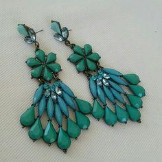 Large green/turquoise chandelier earrings Green/turquoise colored chandelier earrings Jewelry Earrings