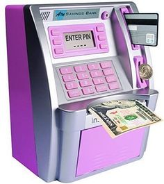 Children's ATM Savings Bank – Limited Edition – Pink/Silver – Toys – kids Rangement Makeup, Money Safe, Savings Bank, Top Toys, Birthday Gifts For Girls, Teenage Girl Birthday, Cool Inventions, Cool Gadgets, Girl Gifts