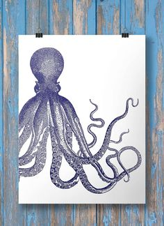 Navy blue Nautical octopus tentacles print  by SouthPacific (Art & Collectibles, Prints, Digital Prints, poster, printable, vintage, print, octopus, nautical, vintage nautical, ocean, sea, octopus art, vintage octopus, nautical art, nautical print)