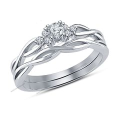 1/3CTW D/VVS1 Diamond Women's Twisted Shank Over Pure 925 Silver Bridal Ring Set…