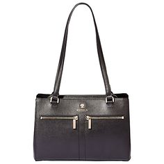Modalu Pippa Leather Shoulder Bag £170 3 main compartments - only one zipped Double shoulder straps Branded Modalu hardware 2 front zip pockets Top zip fastening H19 x W27 x D11.5cm