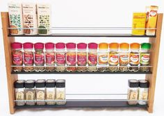 Oak Slate Design Spice / Herb Rack 3 Tier, 39 Jar - Modern Contemporary Style - Deep Shelves for Larger Spice Jars, Boxes, Kilner Jars by OakSlateDesign on Etsy https://www.etsy.com/uk/listing/197673265/oak-slate-design-spice-herb-rack-3-tier