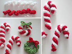 This Easy Crochet Candy Cane Free Pattern is a simple pattern that's a great decoration for Christmas. Make one now with the free pattern provided by the link below. Crochet Christmas Wreath, Crochet Christmas Decorations, Crochet Ornaments, Christmas Crochet Patterns, Holiday Crochet, Christmas Knitting, Crochet Crafts, Christmas Diy, Christmas Wreaths