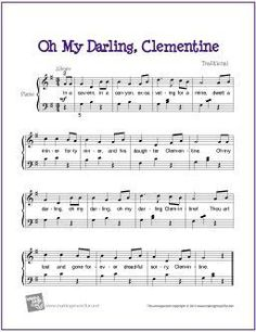 Oh My Darling, Clemetine | Free Sheet Music for Piano