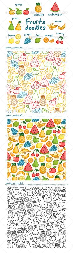 Fruits Doodles #GraphicRiver Fruits set of 17 isolated doodles. Fun summer vector illustration. Plus 3 seamless patterns in addition. Included formats: EPS, Ai, layered PSD. Text is not editable. Created: 16August13 GraphicsFilesIncluded: PhotoshopPSD #VectorEPS #AIIllustrator Layered: Yes MinimumAdobeCSVersion: