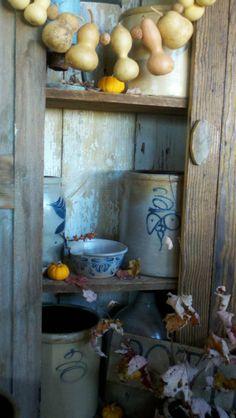 Gourds, old crockery, and the primitive look! All stuff we have at the shop! Antique Crocks, Old Crocks, Antique Stoneware, Stoneware Crocks, Primitive Fall, Primitive Homes, Primitive Decor, Primitive Country, Primitive Shelves
