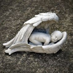 Baby Gravestone | Angel Wings With Baby Grave Ornament