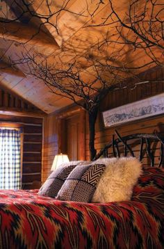 Beautiful Log Home Bedroom ♥  Where are the lights?  I'd have to have lights in the branches.