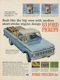 63 Ford Pickups Truck Ad Vintage Automobile by AdVintageCom