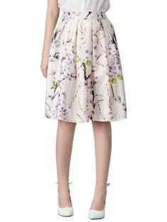 White Sakura Print High Waist Pleated Midi Skater Skirt