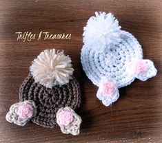 Bunny Butt Coasters - free crochet pattern from Trifles & Treasures Crochet Coaster Pattern, Easter Crochet Patterns, Crochet Bunny Pattern, Knitting Patterns, Doilies Crochet, Doily Patterns, Thread Crochet, Loom Knitting, Dress Patterns