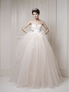 nude tulle princess ball gown wedding dress