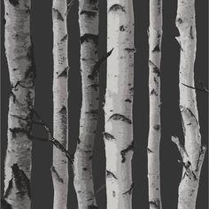 Birch Tree Wallpaper Silver Grey Fine decor