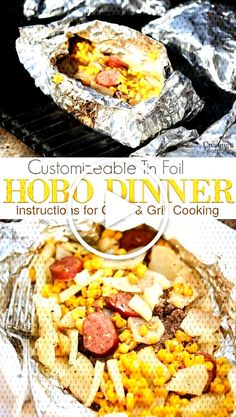 Create an easy tin foil family dinner recipes to please everyone! Customize your Hobo Dinner with hamburger, spiced beef Tin Foil Dinners, Hobo Dinners, Hamburger Spices, Breakfast Pizza Healthy, Spiced Beef, Camping Meals, Backpacking Meals, Camping Recipes, Campfire Food