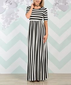 Look what I found on #zulily! Love Story Black & White Stripe Empire-Waist Maxi Dress #zulilyfinds