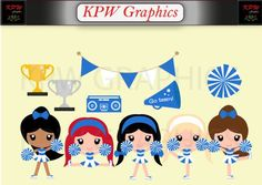 Blue and White Cheerleader Clip-art including 5 Dolls and various accessories in PNG format. Personal & Small Commercial use Cheerleader Clipart, Clipart Images, Cheerleading, Business Cards, Commercial, Blue And White, Clip Art, Invitations, Dolls