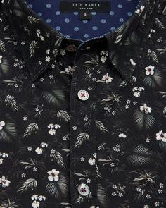 Floral print shirt - Black | Shirts | Ted Baker UK - Men's Fashion