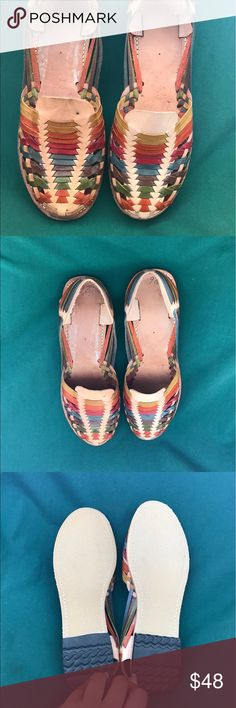 NWT colorful huaraches NWT colorful women huaraches 100% leather hand made material made in Mexico says size 9 USA but fits best size 10 USA Shoes Sandals