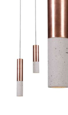 Kalla Inox series in Natural colour, Copper finish. Concrete lamp, designed and hand-made in Poland.