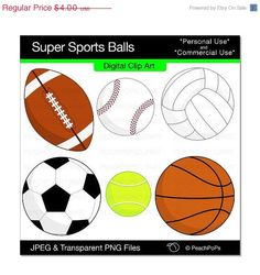 clipart sports balls clip art instant download sport ball digital rh pinterest com