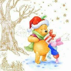 Christmas picture of Winnie the Pooh and Piglet. I think this would make a nice tag. Winnie The Pooh Christmas, Disney Christmas, Christmas Art, Winnie The Pooh Quotes, Disney Winnie The Pooh, Piglet Quotes, Pooh Bear, Eeyore, Disney Wallpaper