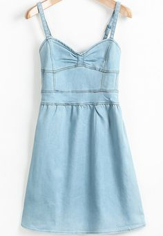 Blue Spaghetti Strap Bow Denim Dress pictures