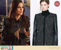 Zoe's black tweed coat with leather sleeves on Hart of Dixie.  Outfit Details: http://wornontv.net/30149/ #HartofDixie