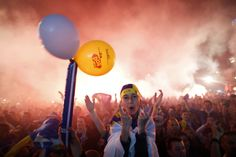 Fans of Bosnia and Herzegovina celebrate a goal against Argentina during a public screening of the 2014 World Cup soccer match on Sarajevo main square, June 16, 2014. Argentina won 2-1 in their opening Group F match on Sunday at the Maracana stadium in Rio de Janeiro. REUTERS/Dado Ruvic