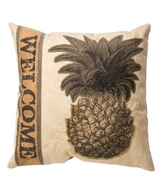 Another great find on #zulily! 'Welcome' Pineapple Throw Pillow #zulilyfinds