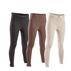 Mujeres Ecuestre Pantalones Mujeres Soft Transpirable SkinnyTight Equitación Pantalones de Equitación Escolaridad Caps Negro Marrón FOUGANZA