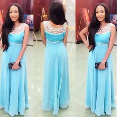 Light Blue Illusion Scoop Neck Prom Dresses Long Elegant Chiffon Beaded Evening Party Gowns