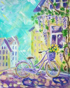 Lavender bike original acrylic painting bicycle and от orangerinka