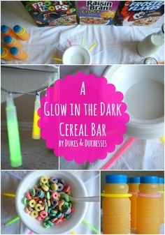 a glow in the dark cereal bar party idea for kids Glow In Dark Party, Glow Party, Diy Party, Summer Fun For Kids, Cereal Bars, Party Food And Drinks, Birthday Parties, 13th Birthday, Sleepover Party